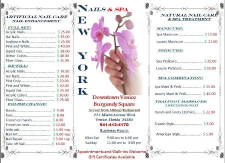 Nail salon nailsnew york nails venice fl for Nail salon price list template